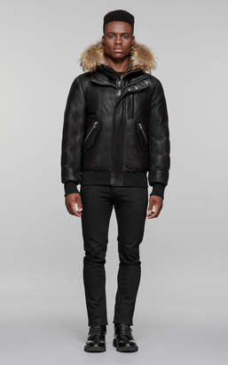 Mackage GLEN WINTER BOMBER DOWN LEATHER PARKA WITH FUR