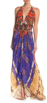 Shahida Parides Convertible Printed Silk Hi-Lo Maxi Dress