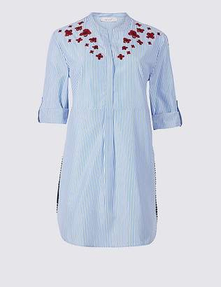 Marks and Spencer Striped Embroidered Long Sleeve Blouse