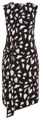 Hugo Boss Enavia Crepe Printed Twist Dress L Patterned $345 thestylecure.com