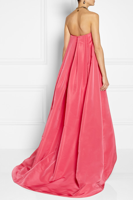 Oscar de la Renta Pleated silk-faille gown