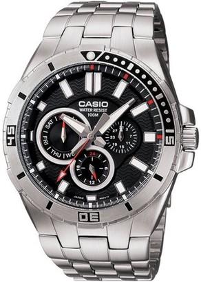 Casio Men's Black Dial Dive-Style Watch, Stainless Steel Bracelet