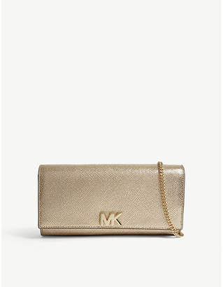 MICHAEL Michael Kors Michael Kors Pale Gold Mott Metallic-Leather Clutch Bag