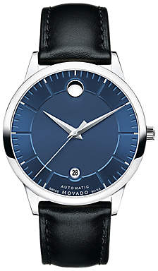 Movado 0606874 Men's 1881 Automatic Date Leather Strap Watch, Black/Blue