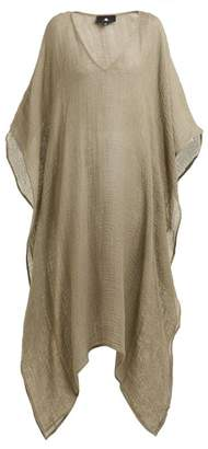 Su - Jilaci Wide V Neck Linen Blend Dress - Womens - Khaki