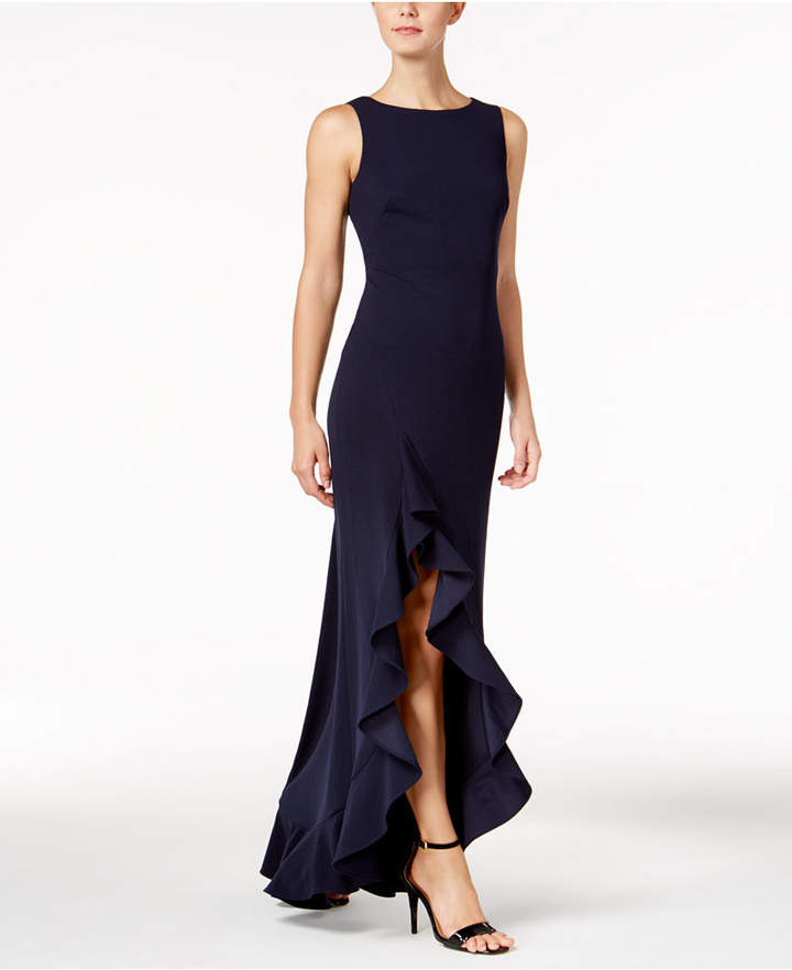 Calvin Klein Ruffled High-Low Gown