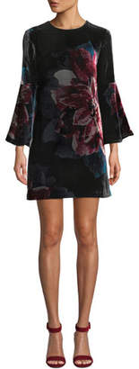 Trina Turk Astral Floral Velvet Bell-Sleeve Mini Dress