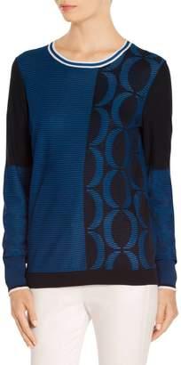 St. John Jacquard Knit Jewel Neck Sweater
