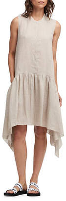 DKNY Foundation Mandarin-Collar Linen Dress