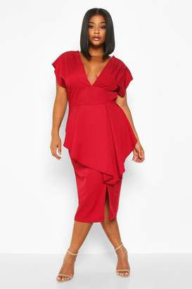 boohoo Plus PLunge Ruffle Detail Midi Dress