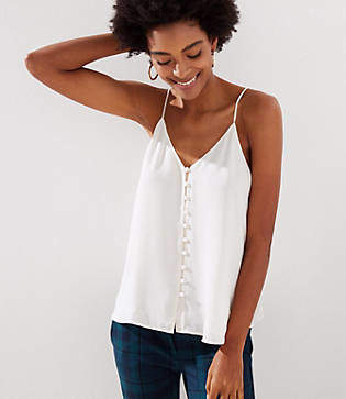LOFT Covered Button Down Strappy Cami