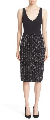 Women's Lela Rose Speckled Knit Tweed Sheath Dress $1,495 thestylecure.com