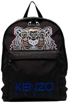 Kenzo black tiger logo embroidered backpack