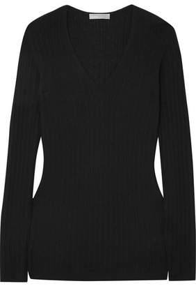Vince Ribbed Cashmere Sweater - Black