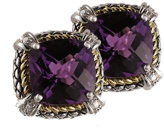 Candela Andrea 925 Sterling Silver & 18K Yellow Gold with Amethyst, 0.20ct Diamond Earrings