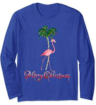 Pink Flamingo Beach Christmas Long Sleeve T-Shirt