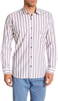 Jared Lang Stripe Patterned Woven Trim Fit Shirt