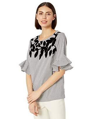 Calvin Klein Women's Short Sleeve Blouse with Applique