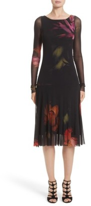 Women's Fuzzi Floral Print Tulle Drop Waist Midi Dress $495 thestylecure.com
