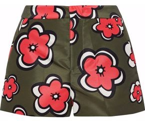 RED Valentino Floral-Print Satin-Faille Shorts