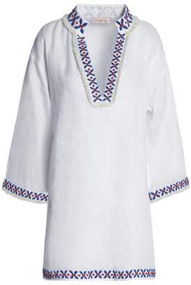 Tory Burch Embroidered Linen-gauze Tunic