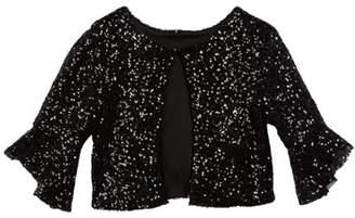 Zoe Sofi Bell-Sleeve Sequin Bolero Jacket, Size S-L