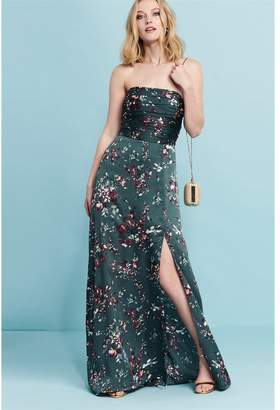 Dynamite Shirred Strapless Maxi Dress - FINAL SALE GREEN FLORAL