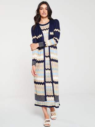 River Island Chevron Knit Maxi Cardigan-blue