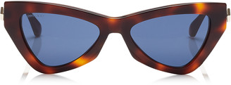 Jimmy Choo DONNA Blue Avio Cat Eye Sunglasses with Havana Frame