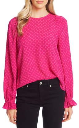 CeCe Clip Floral Jacquard Ruffle Sleeve Blouse