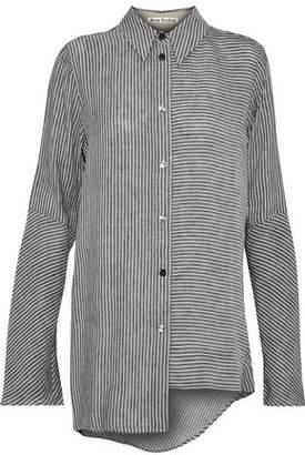 Acne Studios Asymmetric Striped Linen And Modal-Blend Shirt