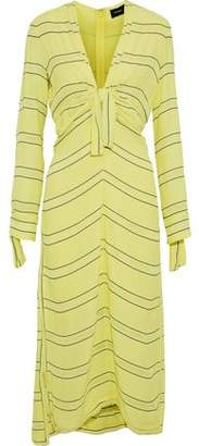 Proenza Schouler Knotted Striped Crepe Midi Dress