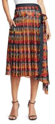 ADAM by Adam Lippes Print Satin Chiffon Wrap Skirt
