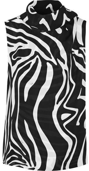 Emilio Pucci - Tie-neck Printed Silk Wrap Top - White