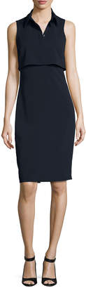 Badgley Mischka Sleeveless Collared Stretch Crepe Popover Dress, Blue