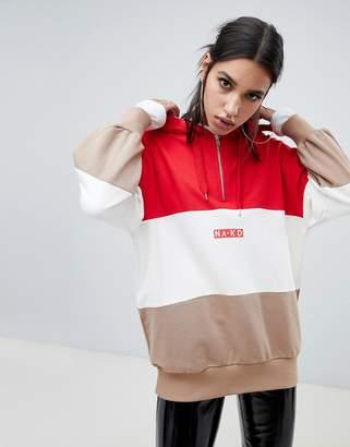 NA-KD color block oversized logo hoodie