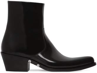 Calvin Klein Tex Polished Leather Ankle Boots