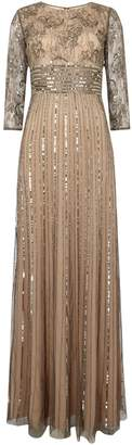 Adrianna Papell Long sleeve beaded gown