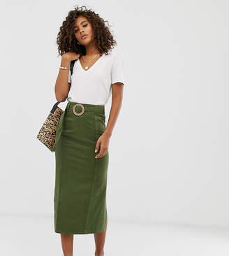 1425bd731c0a Asos Tall DESIGN Tall denim belted midi skirt in khaki green