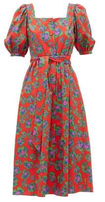 Borgo de Nor Corin Belted Floral Print Cotton Midi Dress - Womens - Red Print