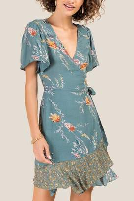 francesca's Mabyn Mixed Floral A-Line Dress - Teal