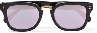Illesteva - Positano Square-frame Acetate Mirrored Sunglasses - Black $220 thestylecure.com