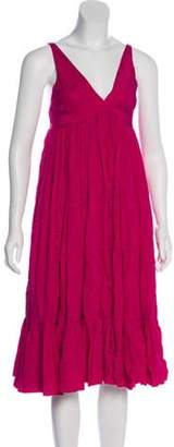 Balenciaga Silk Midi Dress Magenta Silk Midi Dress