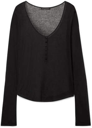 Kiki de Montparnasse Ribbed Modal And Cashmere-blend Top - Black