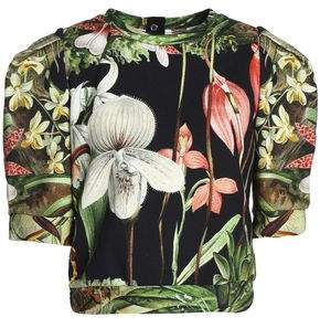 ADAM by Adam Lippes Cropped Floral-Print Cotton-Jersey Top