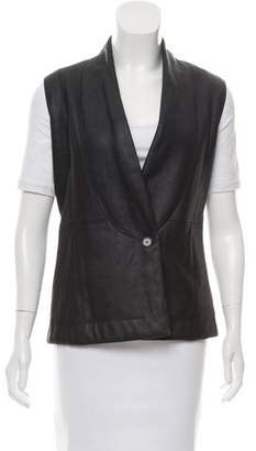 Calvin Klein Collection Collarless Leather Vest w/ Tags