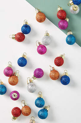 Anthropologie Miniature Glittered Ornaments, Set of 25