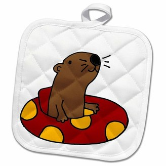3dRose Funny Otter is Floating and Tubing in Red and Yellow Inner Tube - Pot Holder, 8 by 8-inch
