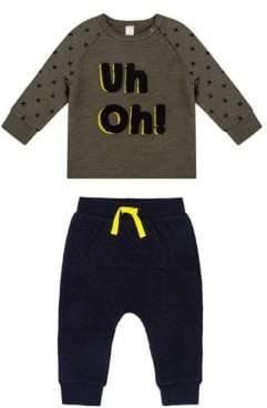Petit Lem Baby Boy's Monster Uh Oh Two-Piece Sweatshirt & Jogger Pants Set