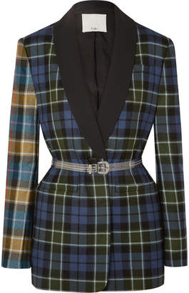Tibi Oversized Belted Tartan Wool Blazer - Blue
